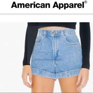 American Apparel High Waist Denim Cuff Shorts 24